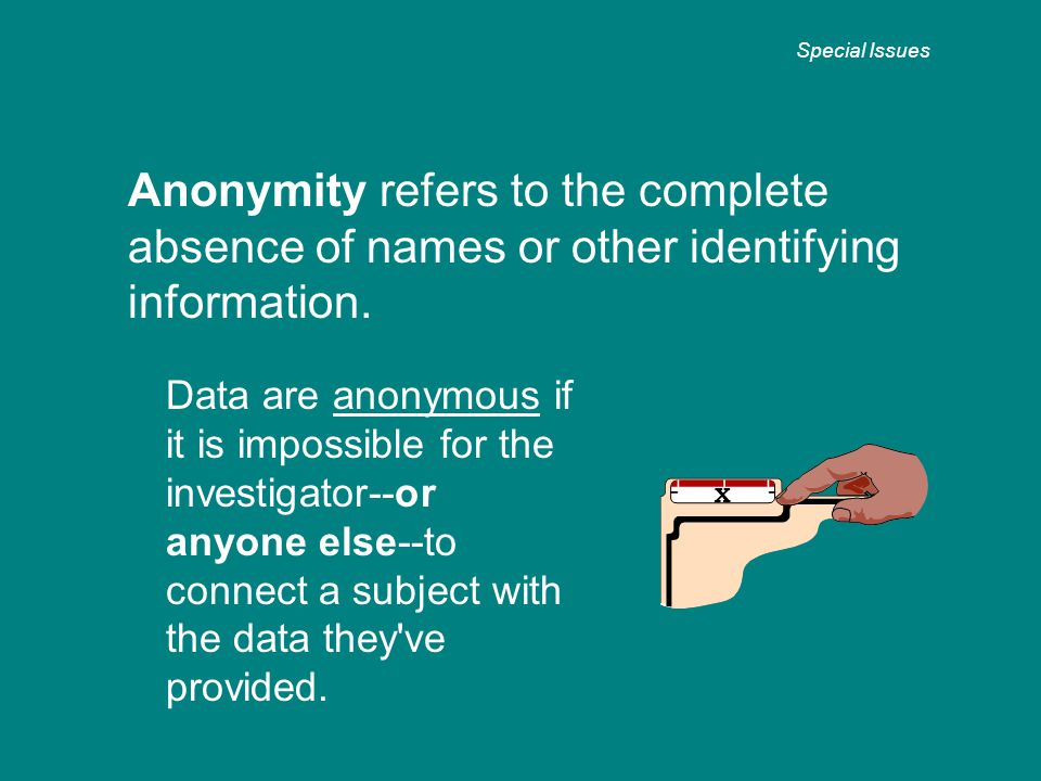 Anonymity refers to the complete absence of names or other identifying information.