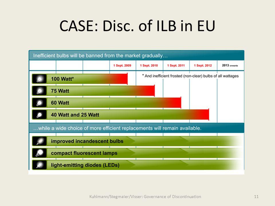 11 CASE: Disc. of ILB in EU Kuhlmann/Stegmaier/Visser: Governance of Discontinuation