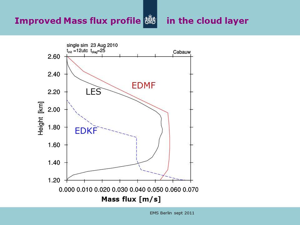 EMS Berlin sept 2011 Mass flux [m/s] EDMF EDKF LES Improved Mass flux profile in the cloud layer
