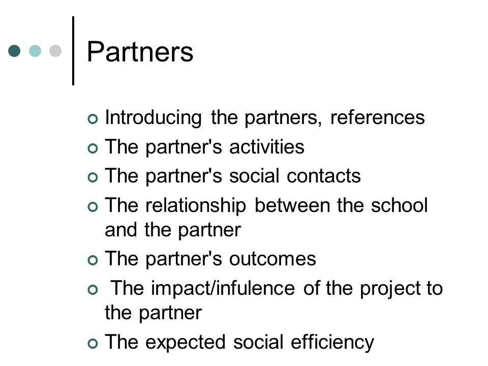 Partners Introducing the partners, references The partner s activities The partner s social contacts The relationship between the school and the partner The partner s outcomes The impact/infulence of the project to the partner The expected social efficiency
