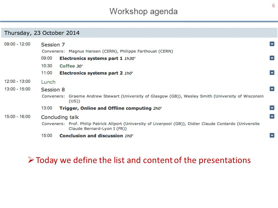 6  Today we define the list and content of the presentations