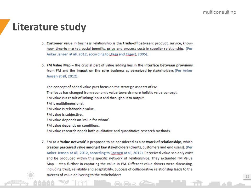 multiconsult.no 13 Literature study