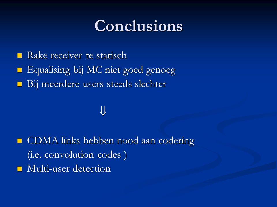Conclusions Rake receiver te statisch Rake receiver te statisch Equalising bij MC niet goed genoeg Equalising bij MC niet goed genoeg Bij meerdere use