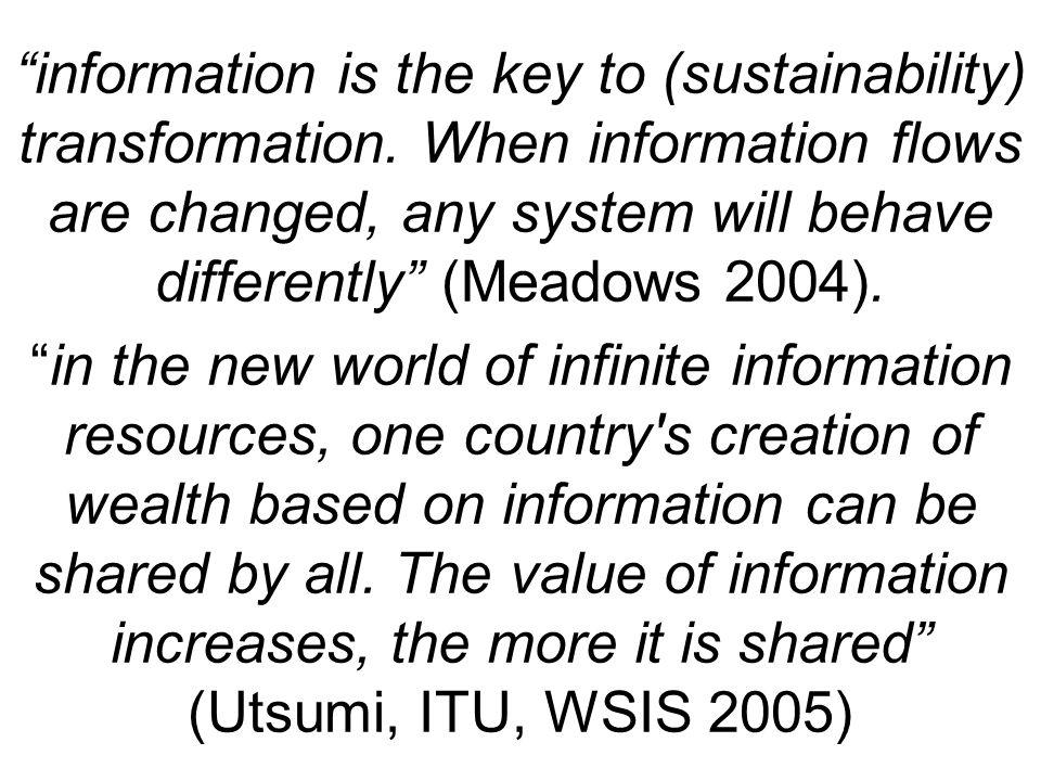 information is the key to (sustainability) transformation.