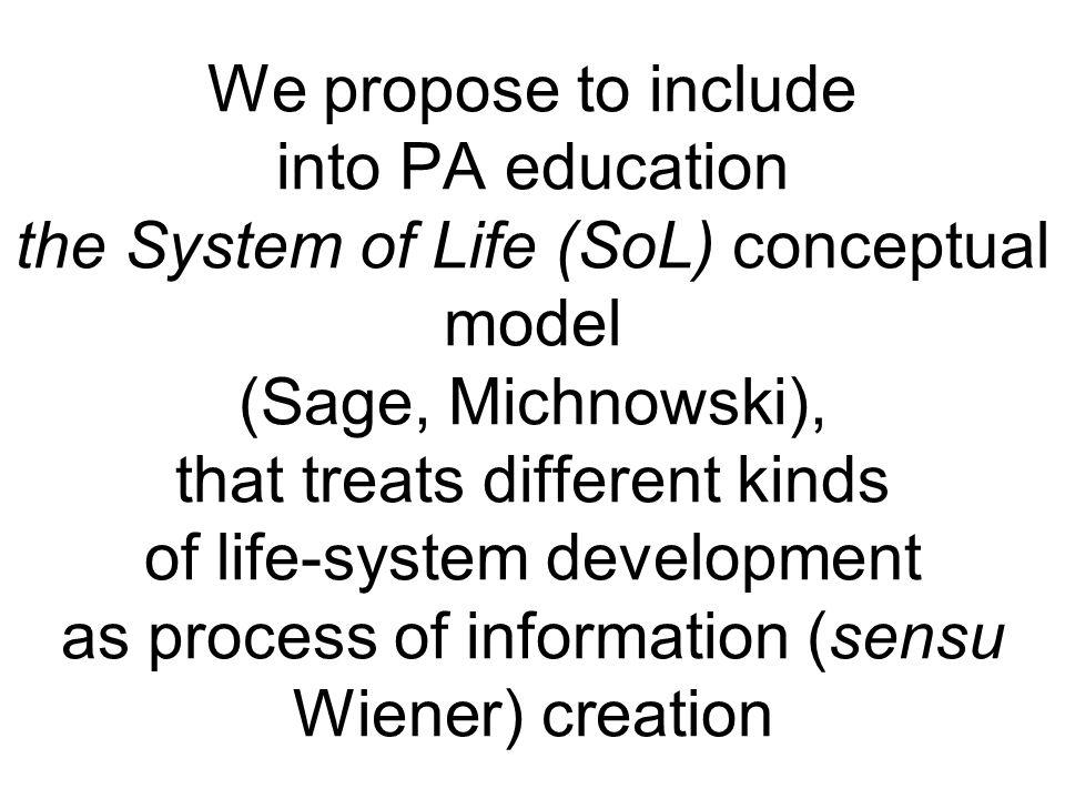 We propose to include into PA education the System of Life (SoL) conceptual model (Sage, Michnowski), that treats different kinds of life-system development as process of information (sensu Wiener) creation