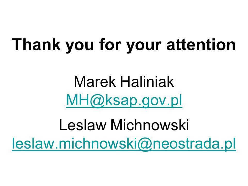 Thank you for your attention Marek Haliniak MH@ksap.gov.pl Leslaw Michnowski leslaw.michnowski@neostrada.pl MH@ksap.gov.pl leslaw.michnowski@neostrada.pl