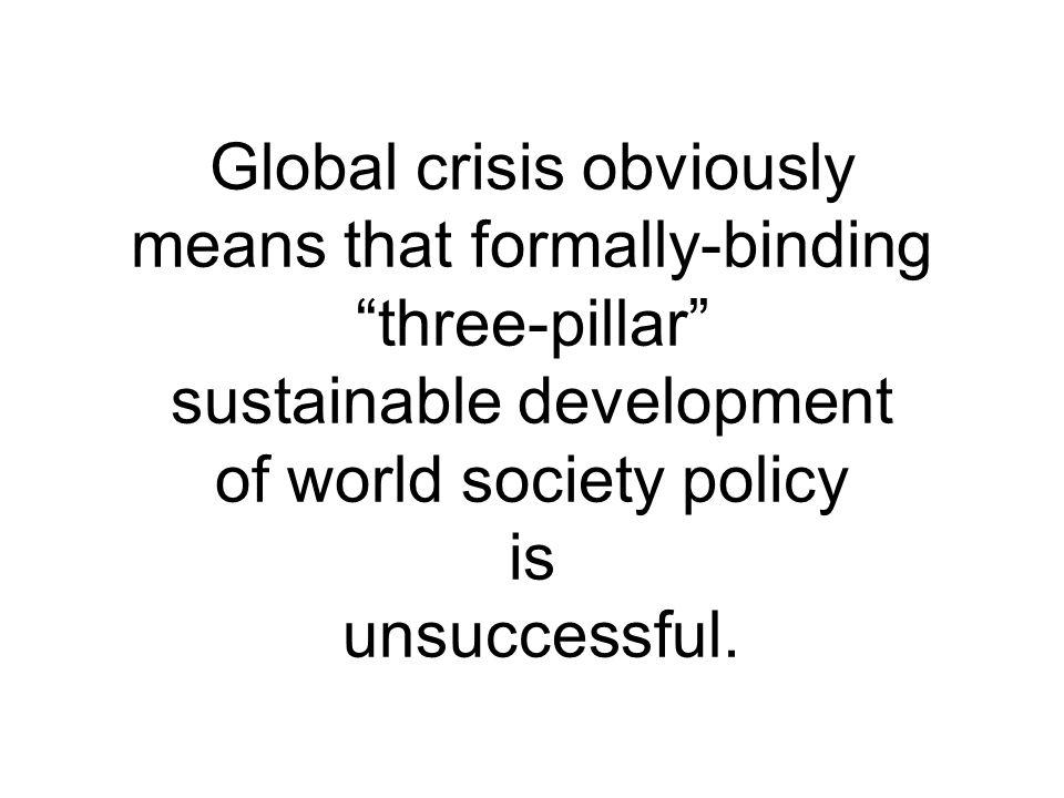 Global crisis obviously means that formally-binding three-pillar sustainable development of world society policy is unsuccessful.