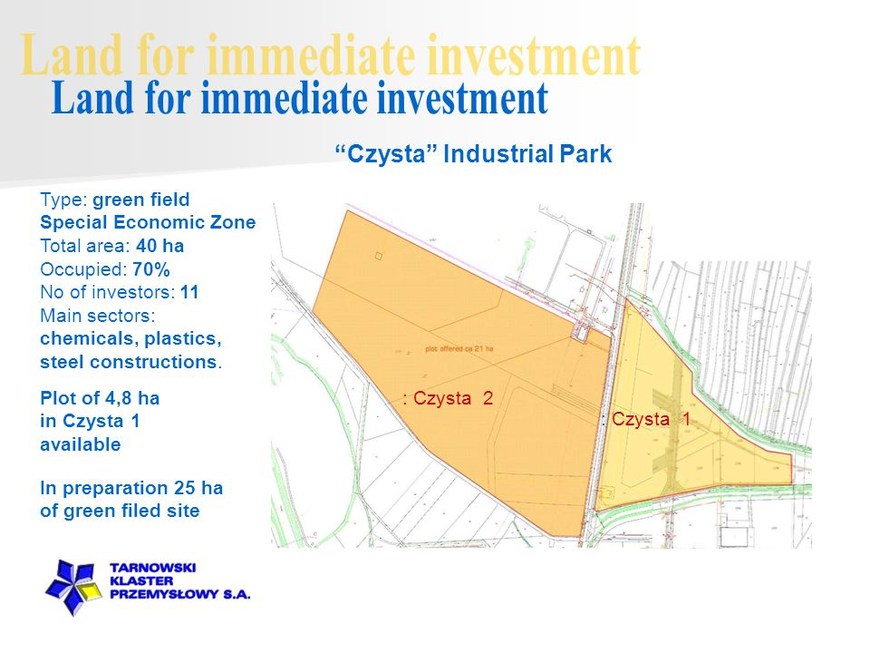 Plot of 4,8 ha in Czysta 1 available Czysta Industrial Park : Czysta 2 : Czysta 1 In preparation 25 ha of green filed site Type: green field Special Economic Zone Total area: 40 ha Occupied: 70% No of investors: 11 Main sectors: chemicals, plastics, steel constructions.