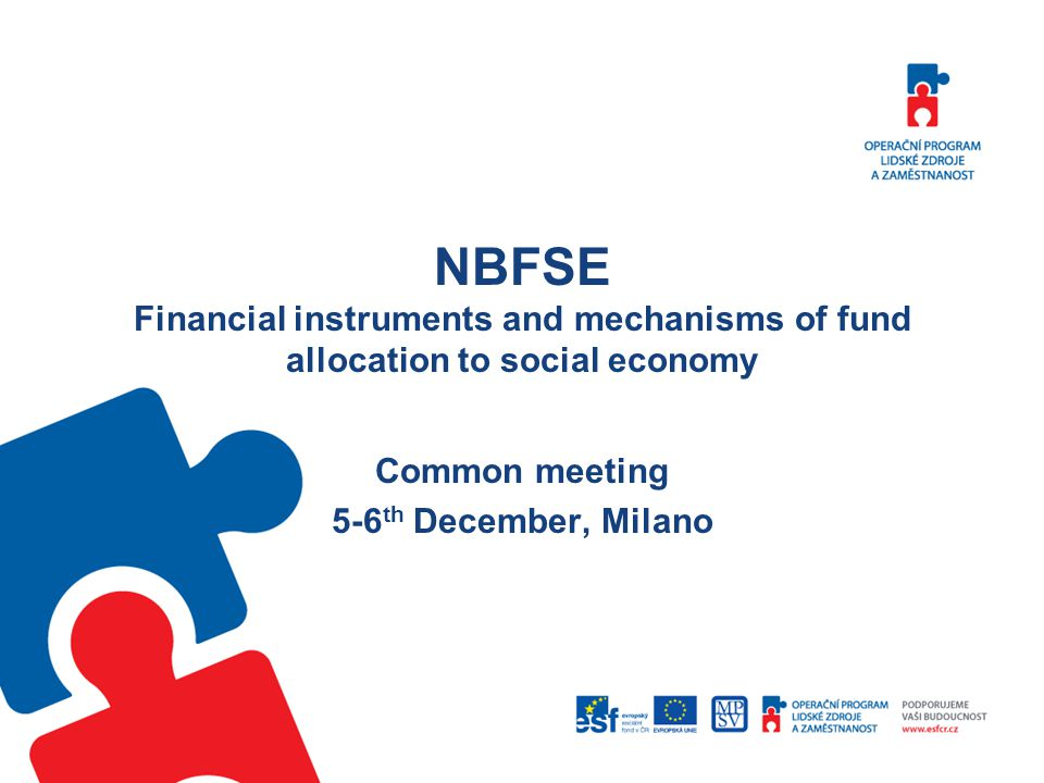 NBFSE Financial instruments and mechanisms of fund allocation to social economy Common meeting 5-6 th December, Milano