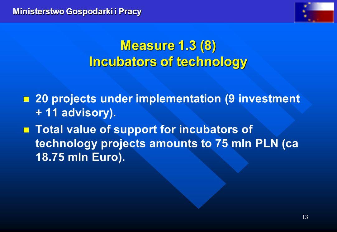 Ministerstwo Gospodarki i Pracy 13 Measure 1.3 (8) Incubators of technology 20 projects under implementation (9 investment + 11 advisory).