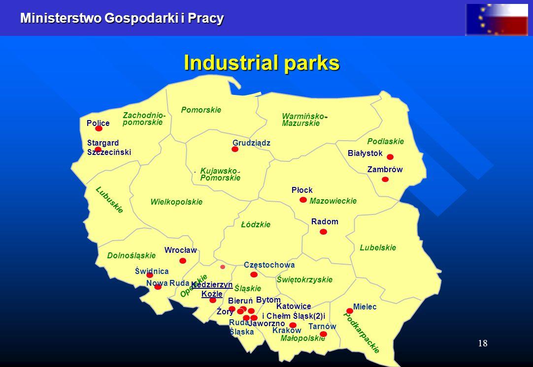Ministerstwo Gospodarki i Pracy 18 Industrial parks