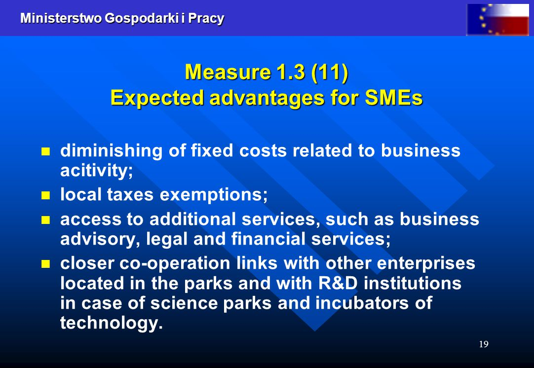 Ministerstwo Gospodarki i Pracy 19 Measure 1.3 (11) Expected advantages for SMEs diminishing of fixed costs related to business acitivity; local taxes exemptions; access to additional services, such as business advisory, legal and financial services; closer co-operation links with other enterprises located in the parks and with R&D institutions in case of science parks and incubators of technology.