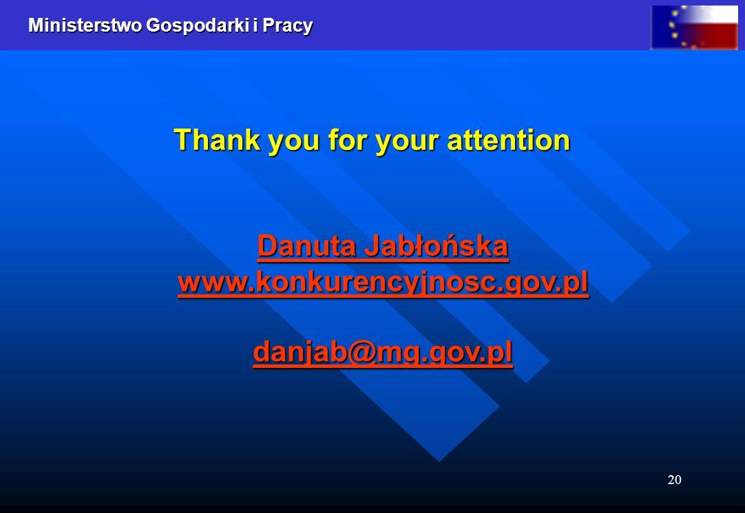 Ministerstwo Gospodarki i Pracy 20 Danuta Jabłońska www.konkurencyjnosc.gov.pldanjab@mg.gov.pl Thank you for your attention