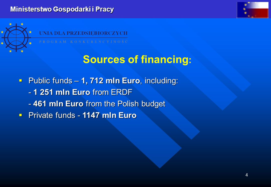 Ministerstwo Gospodarki i Pracy 4  Public funds – 1, 712 mln Euro, including: - 1 251 mln Euro from ERDF - 461 mln Euro from the Polish budget  Private funds - 1147 mln Euro Sources of financing :
