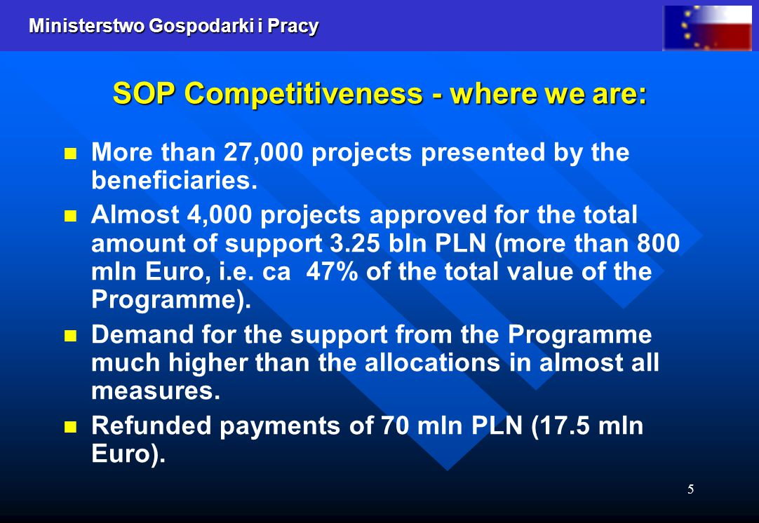 Ministerstwo Gospodarki i Pracy 5 SOP Competitiveness - where we are: More than 27,000 projects presented by the beneficiaries. Almost 4,000 projects