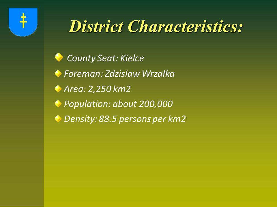 District Characteristics: County Seat: Kielce Foreman: Zdzislaw Wrzałka Area: 2,250 km2 Population: about 200,000 Density: 88.5 persons per km2