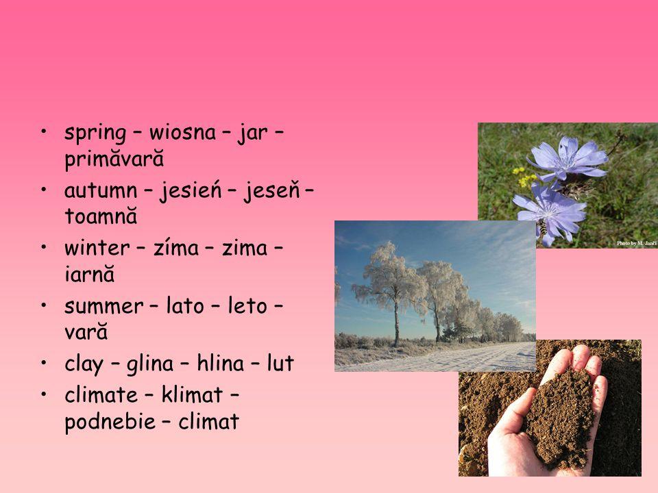 spring – wiosna – jar – primăvară autumn – jesień – jeseň – toamnă winter – zíma – zima – iarnă summer – lato – leto – vară clay – glina – hlina – lut