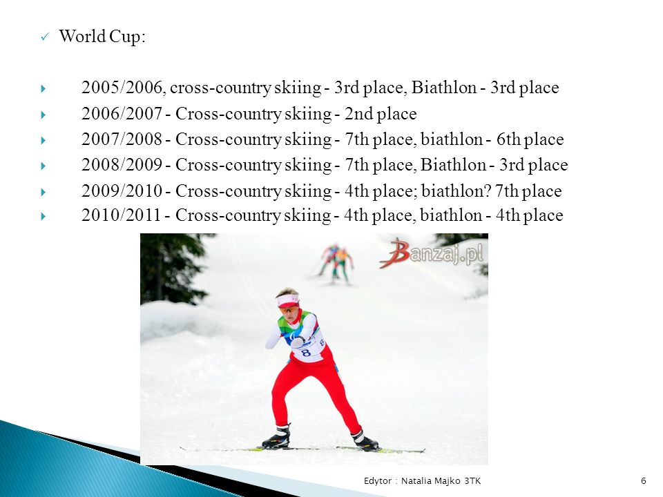 World Cup:  2005/2006, cross-country skiing - 3rd place, Biathlon - 3rd place  2006/2007 - Cross-country skiing - 2nd place  2007/2008 - Cross-country skiing - 7th place, biathlon - 6th place  2008/2009 - Cross-country skiing - 7th place, Biathlon - 3rd place  2009/2010 - Cross-country skiing - 4th place; biathlon.