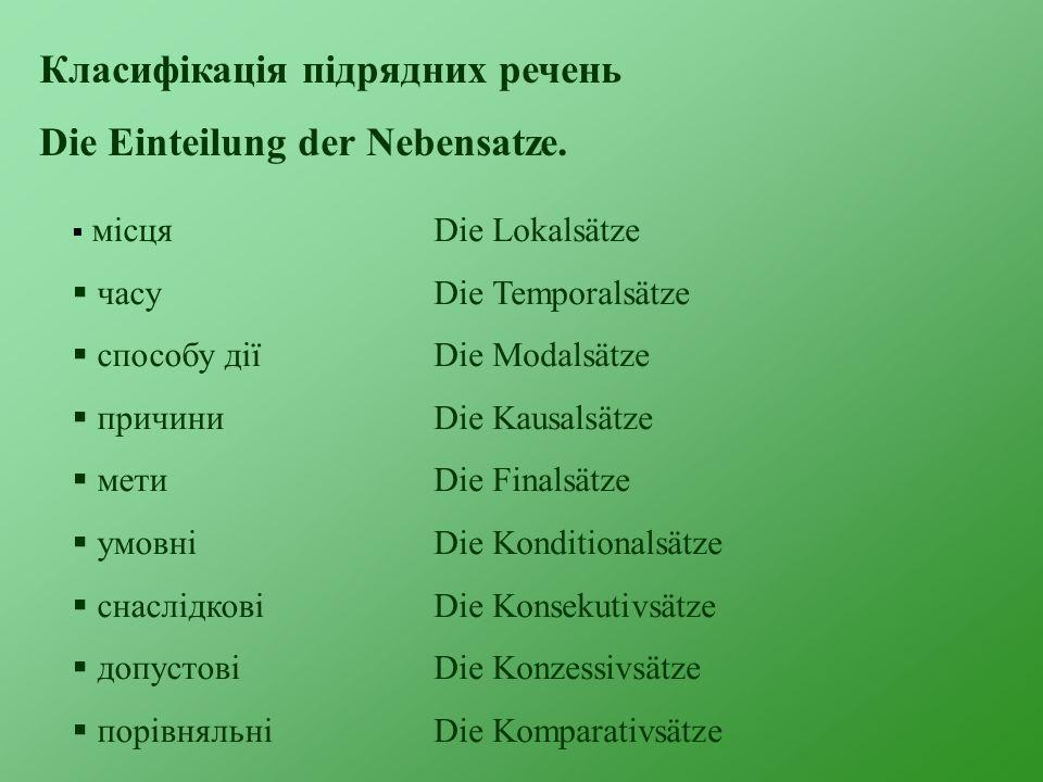 Класифікація підрядних речень Die Einteilung der Nebensatze.  місця  часу  способу дії  причини  мети  умовні  cнаслідкові  допустові  порівн