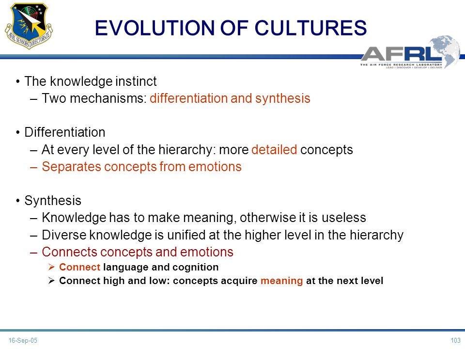 EVOLUTION OF CULTURES The knowledge instinct –Two mechanisms: differentiation and synthesis Differentiation –At every level of the hierarchy: more det