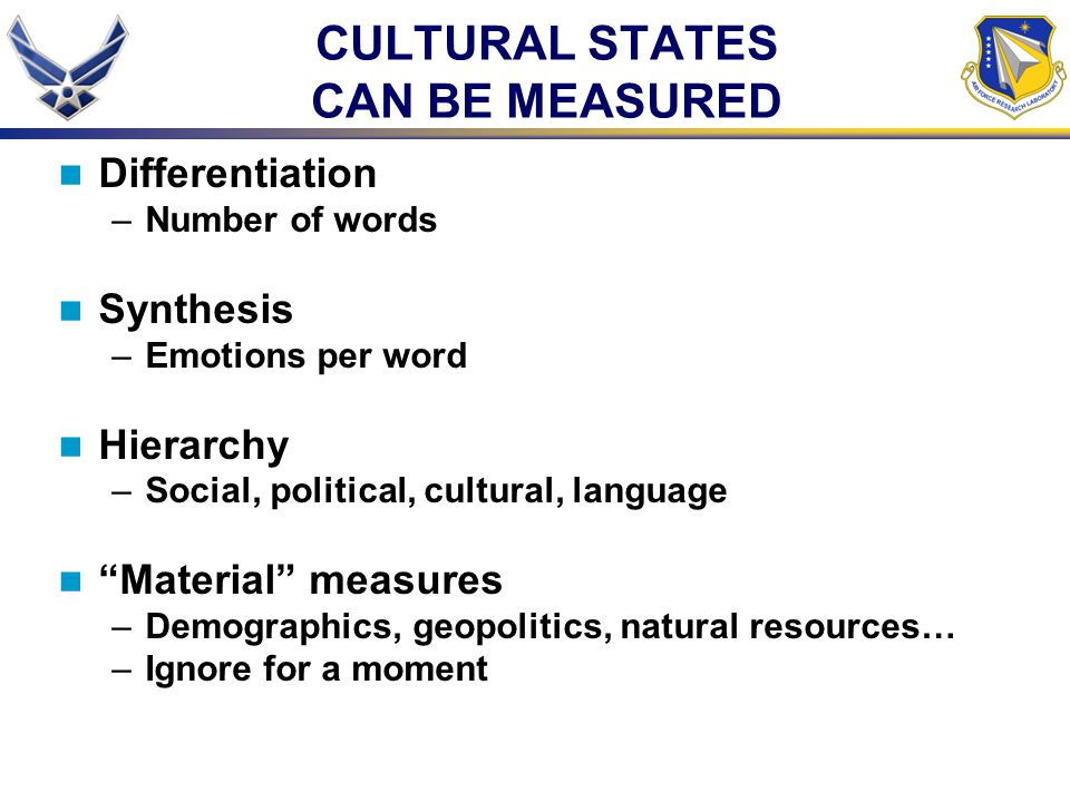 "CULTURAL STATES CAN BE MEASURED Differentiation –Number of words Synthesis –Emotions per word Hierarchy –Social, political, cultural, language ""Materi"