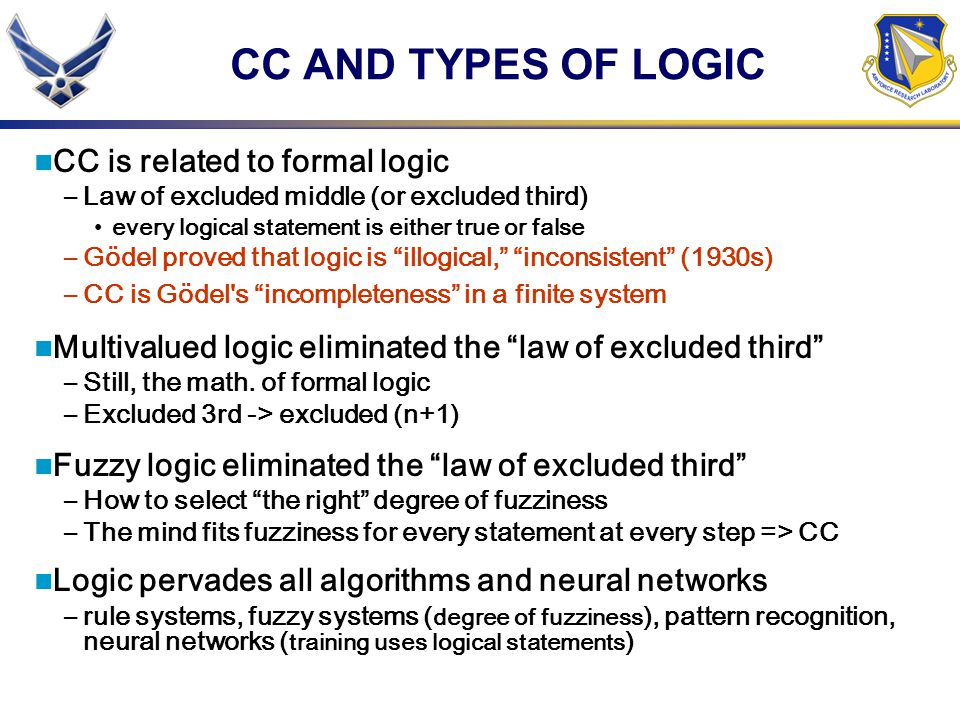 CC AND TYPES OF LOGIC CC is related to formal logic –Law of excluded middle (or excluded third) every logical statement is either true or false –Gödel