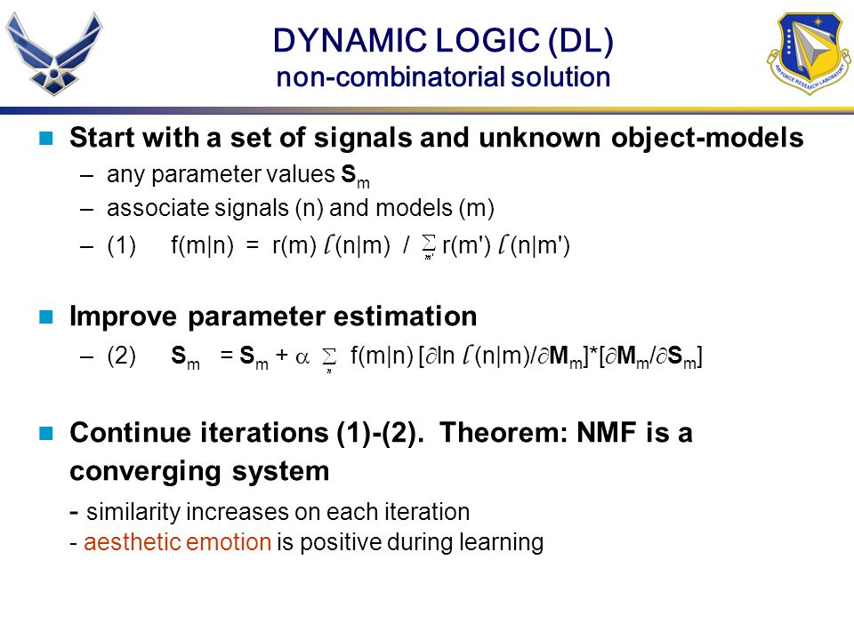 DYNAMIC LOGIC (DL) non-combinatorial solution Start with a set of signals and unknown object-models –any parameter values S m –associate signals (n) a