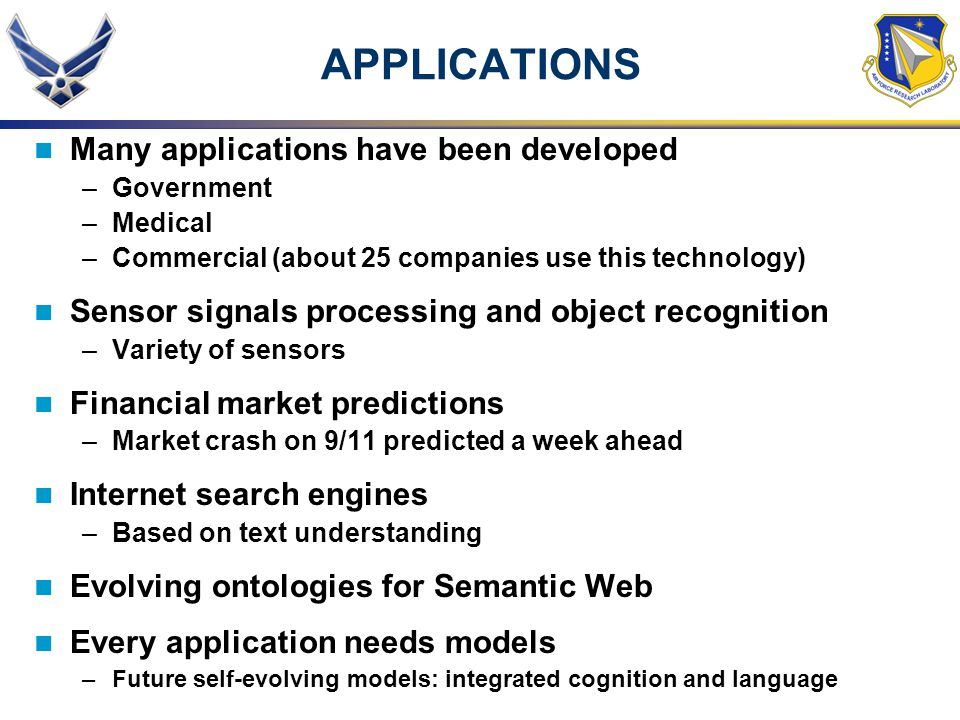 APPLICATIONS Many applications have been developed –Government –Medical –Commercial (about 25 companies use this technology) Sensor signals processing