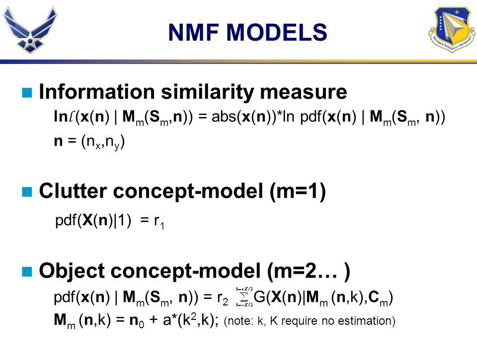 NMF MODELS Information similarity measure ln l (x(n) | M m (S m,n)) = abs(x(n))*ln pdf(x(n) | M m (S m, n)) n = (n x,n y ) Clutter concept-model (m=1) pdf(X(n)|1) = r 1 Object concept-model (m=2… ) pdf(x(n) | M m (S m, n)) = r 2 G(X(n)|M m (n,k),C m ) M m (n,k) = n 0 + a*(k 2,k); (note: k, K require no estimation)