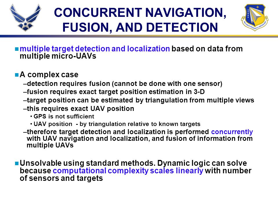 CONCURRENT NAVIGATION, FUSION, AND DETECTION multiple target detection and localization based on data from multiple micro-UAVs A complex case –detecti