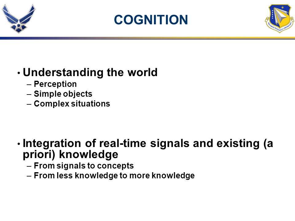 COGNITION Understanding the world –Perception –Simple objects –Complex situations Integration of real-time signals and existing (a priori) knowledge –