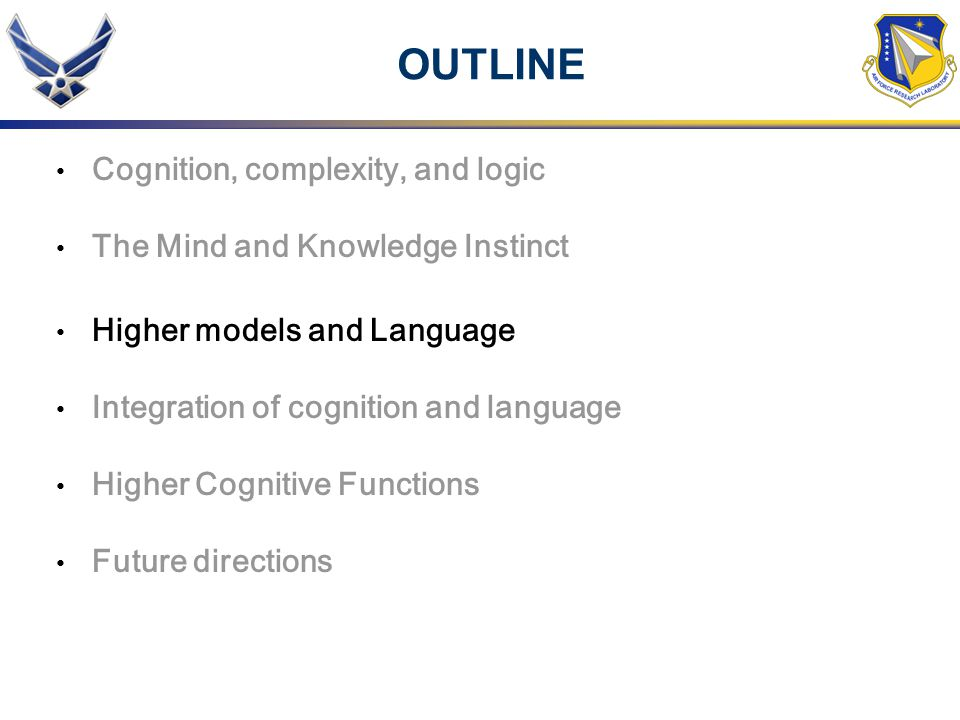 OUTLINE Cognition, complexity, and logic The Mind and Knowledge Instinct Higher models and Language Integration of cognition and language Higher Cogni