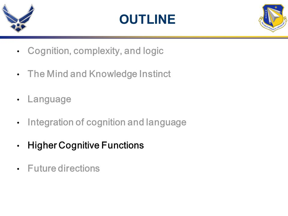 OUTLINE Cognition, complexity, and logic The Mind and Knowledge Instinct Language Integration of cognition and language Higher Cognitive Functions Fut