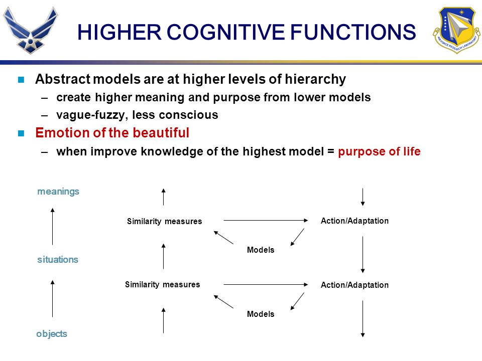 HIGHER COGNITIVE FUNCTIONS Abstract models are at higher levels of hierarchy –create higher meaning and purpose from lower models –vague-fuzzy, less c