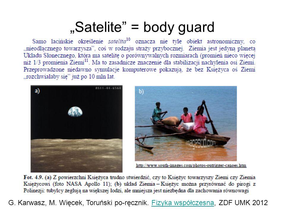"""""""Satelite"""" = body guard G. Karwasz, M. Więcek, Toruński po-ręcznik. Fizyka współczesna, ZDF UMK 2012Fizyka współczesna"""