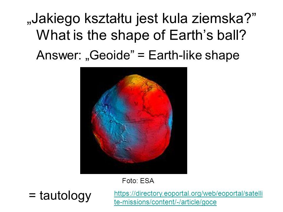 """""""Jakiego kształtu jest kula ziemska?"""" What is the shape of Earth's ball? Answer: """"Geoide"""" = Earth-like shape = tautology Foto: ESA https://directory.e"""