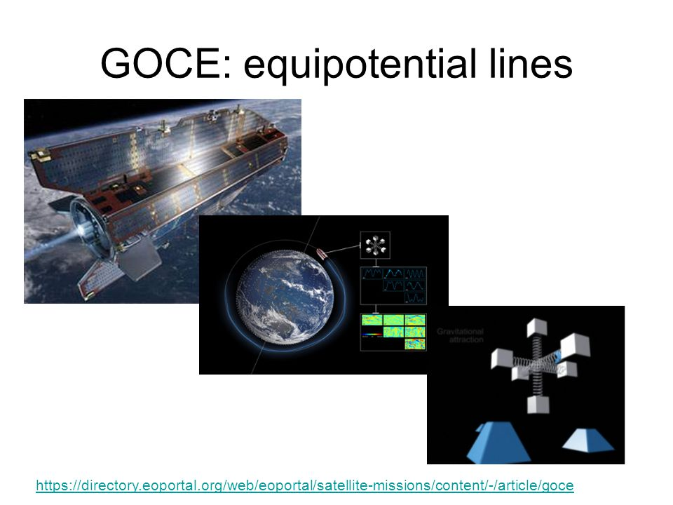 GOCE: equipotential lines https://directory.eoportal.org/web/eoportal/satellite-missions/content/-/article/goce