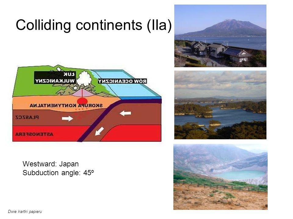 Colliding continents (IIa) Westward: Japan Subduction angle: 45º Dwie kartki papieru