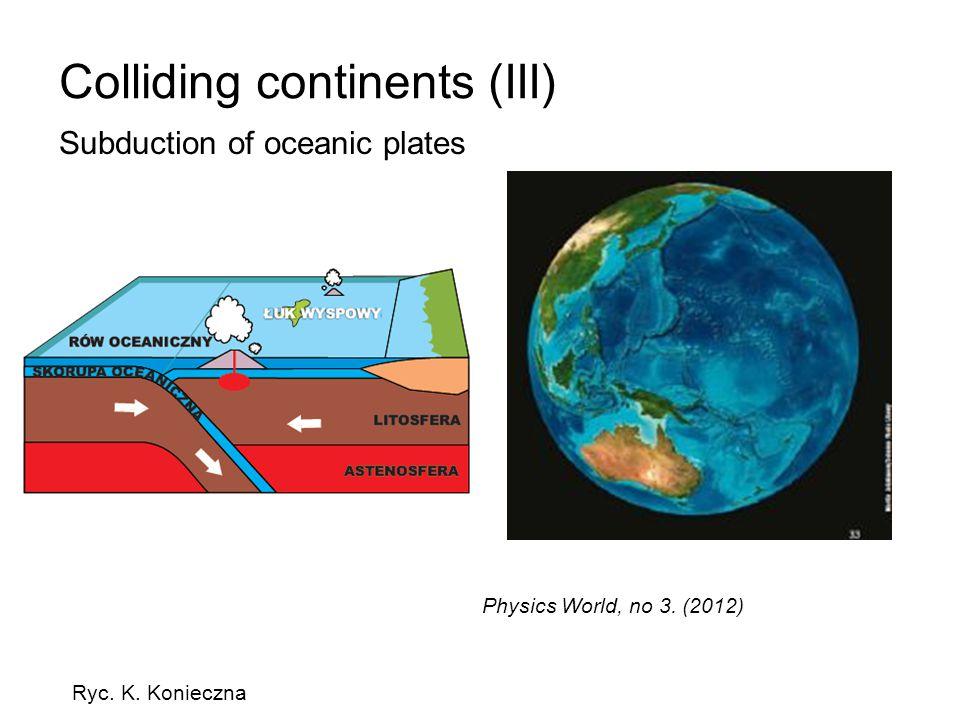 Colliding continents (III) Subduction of oceanic plates Ryc. K. Konieczna Physics World, no 3. (2012)