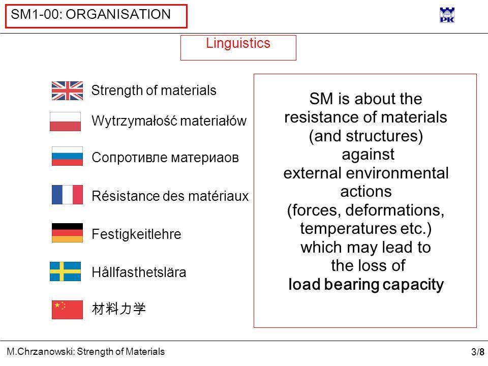3/83/8 M.Chrzanowski: Strength of Materials SM1-00: ORGANISATION Linguistics Сопротивле матеpиаов Résistance des matériaux Festigkeitlehre Hållfasthet