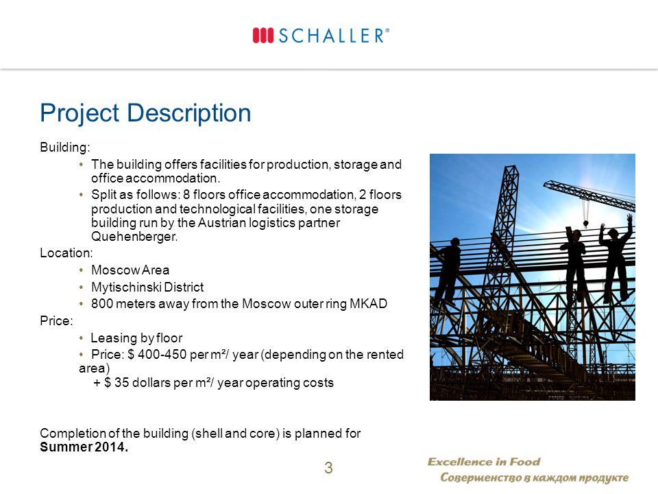 Project Description Building: The building offers facilities for production, storage and office accommodation.