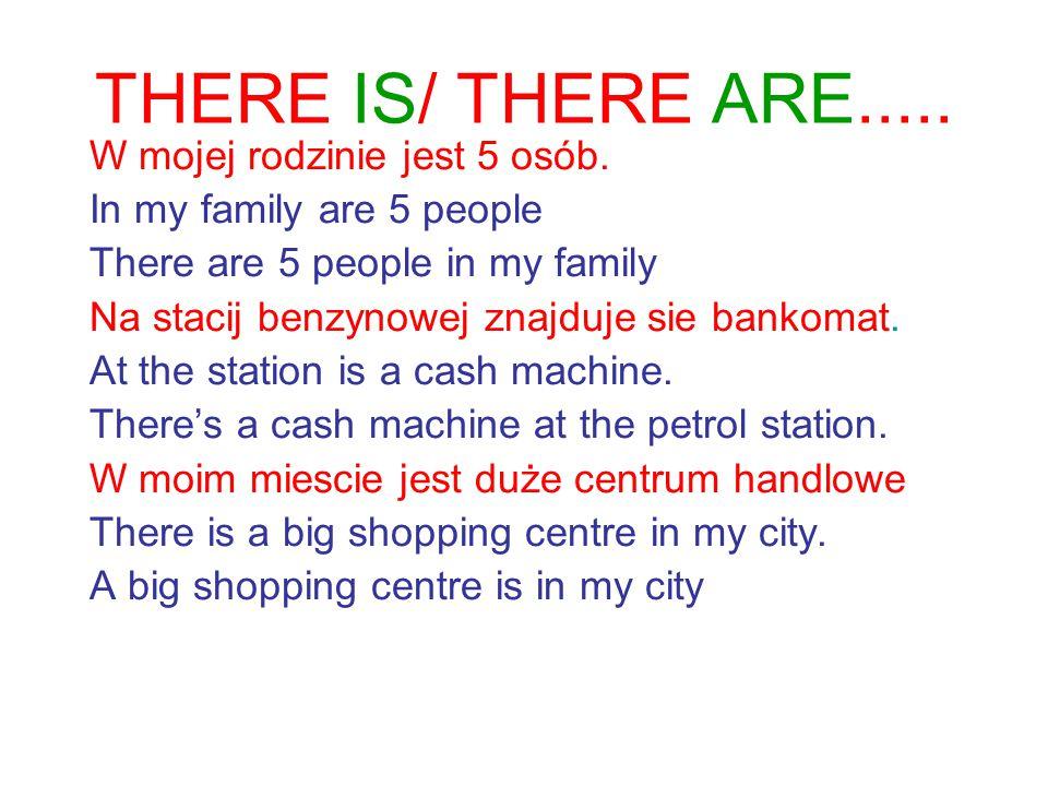 There is/are + rzeczownik+ miejsce Na stacij benzynowej znajduje sie bankomat.