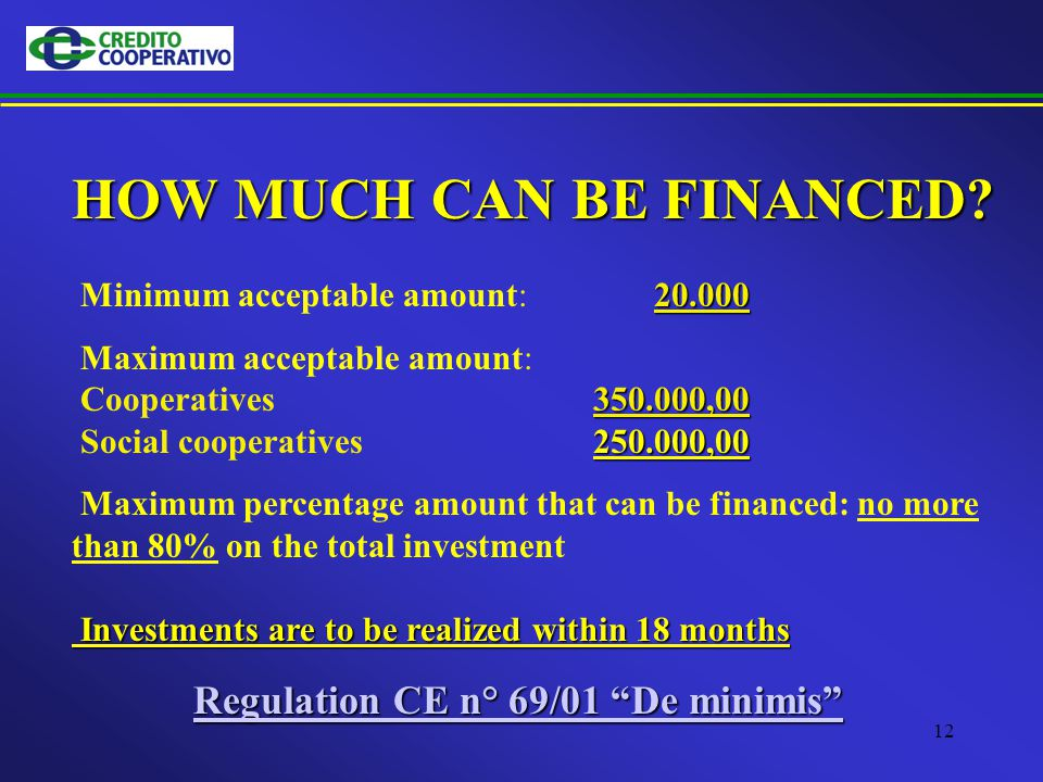12 HOW MUCH CAN BE FINANCED.