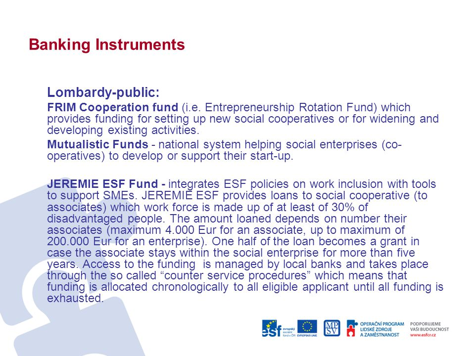 Banking Instruments Lombardy-public: FRIM Cooperation fund (i.e.