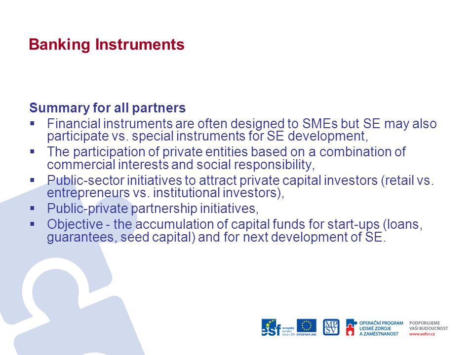Banking Instruments Summary for all partners  Financial instruments are often designed to SMEs but SE may also participate vs.