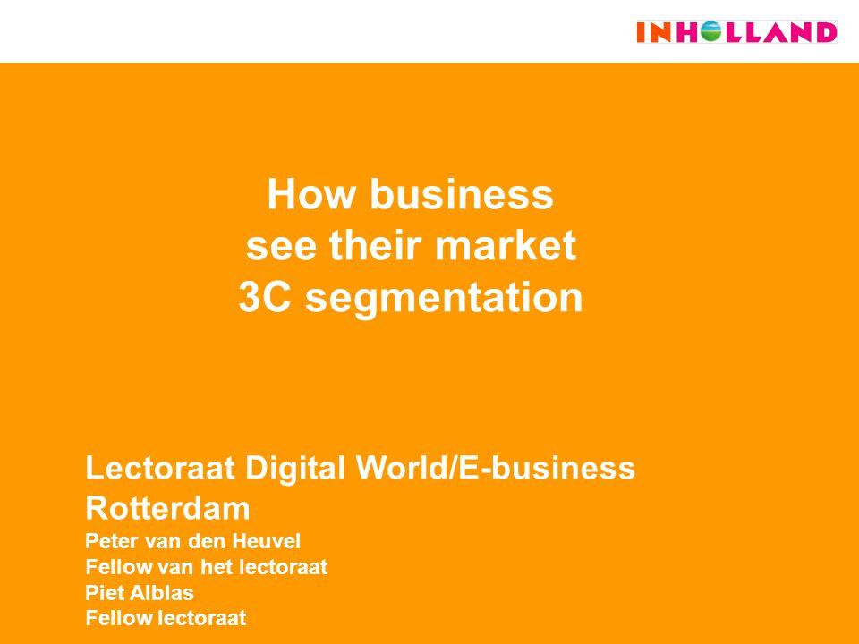 How business see their market 3C segmentation Lectoraat Digital World/E-business Rotterdam Peter van den Heuvel Fellow van het lectoraat Piet Alblas Fellow lectoraat