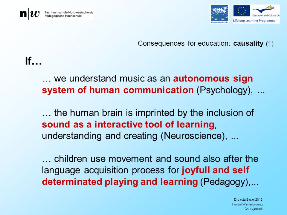 Didacta Basel 2012 Forum Weiterbildung Cslovjecsek Consequences for education: causality (1) … we understand music as an autonomous sign system of human communication (Psychology),...