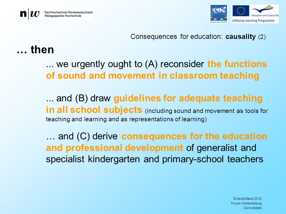 Didacta Basel 2012 Forum Weiterbildung Cslovjecsek Consequences for education: causality (2)...