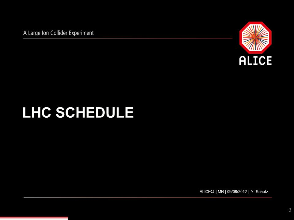 LHC SCHEDULE … OUR GUESS FOR PA 2012-2013 ALICE© | MB | 09/06/2012 | Y. Schutz4