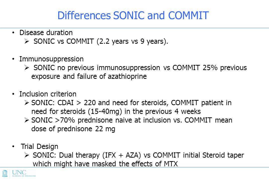 Disease duration  SONIC vs COMMIT (2.2 years vs 9 years).